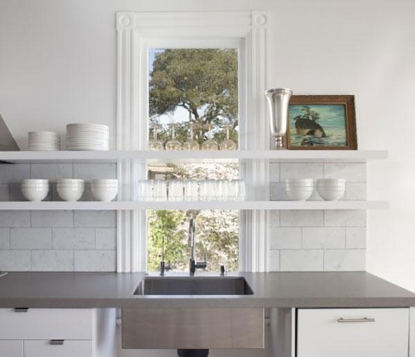 Trend floating shelves in the kitchen la la lovely for Floating kitchen sink