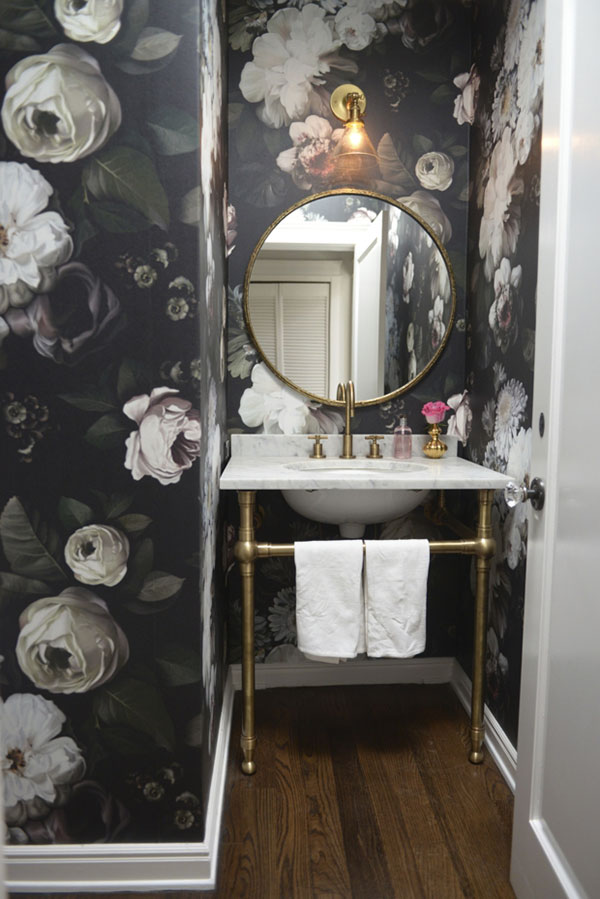 Floral wallpaper la la lovely for Dark bathroom wallpaper