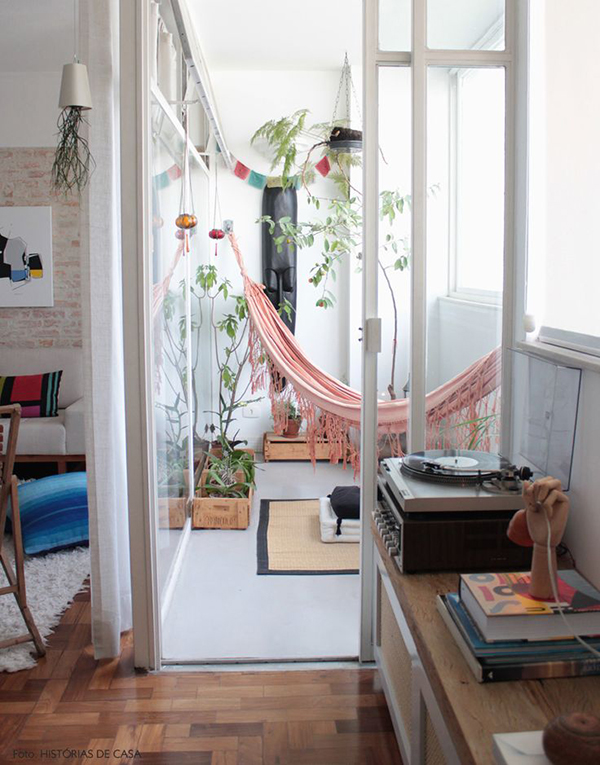 Hammock in House via La La Lovely BLog