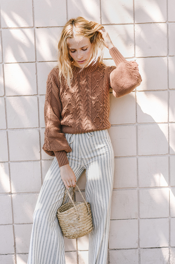 Belle Sleeved Sweater and Striped pants